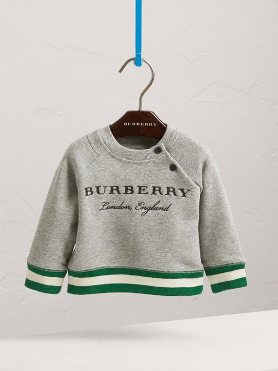 Contrast Stripe Embroidered Cotton Sweatshirt in Grey Melange | Burberry Australia - cell image 2