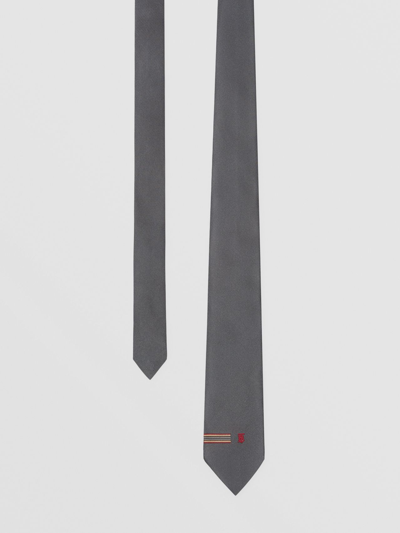 Classic Cut Icon Stripe Trim Monogram Motif Silk Tie in Dark Grey