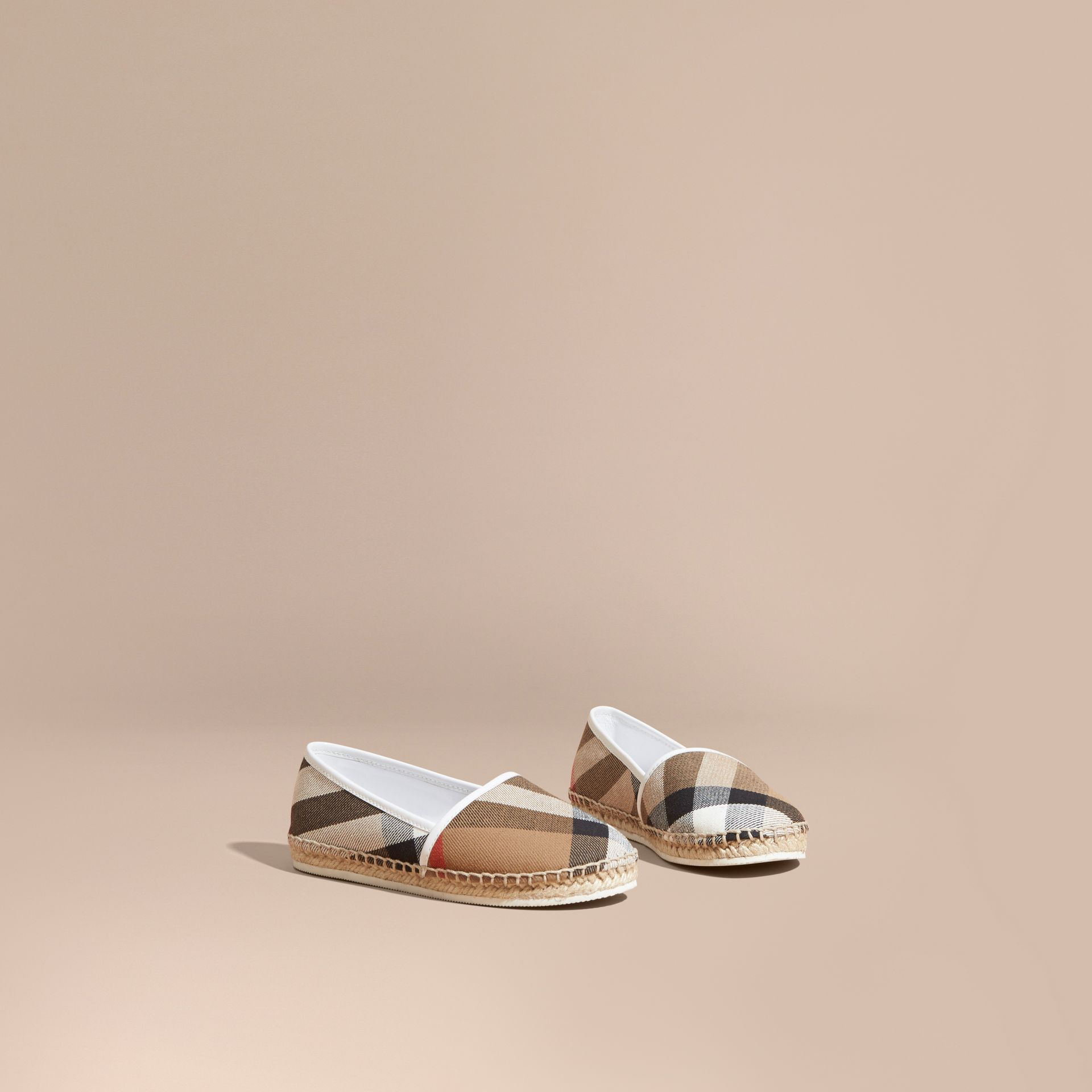 House Check Cotton Canvas Espadrilles in Optic White - Girl | Burberry - gallery image 1