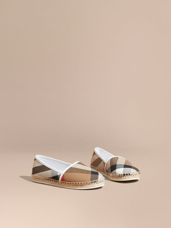 Espadrilles aus Baumwollcanvas in House Check Optic-weiss