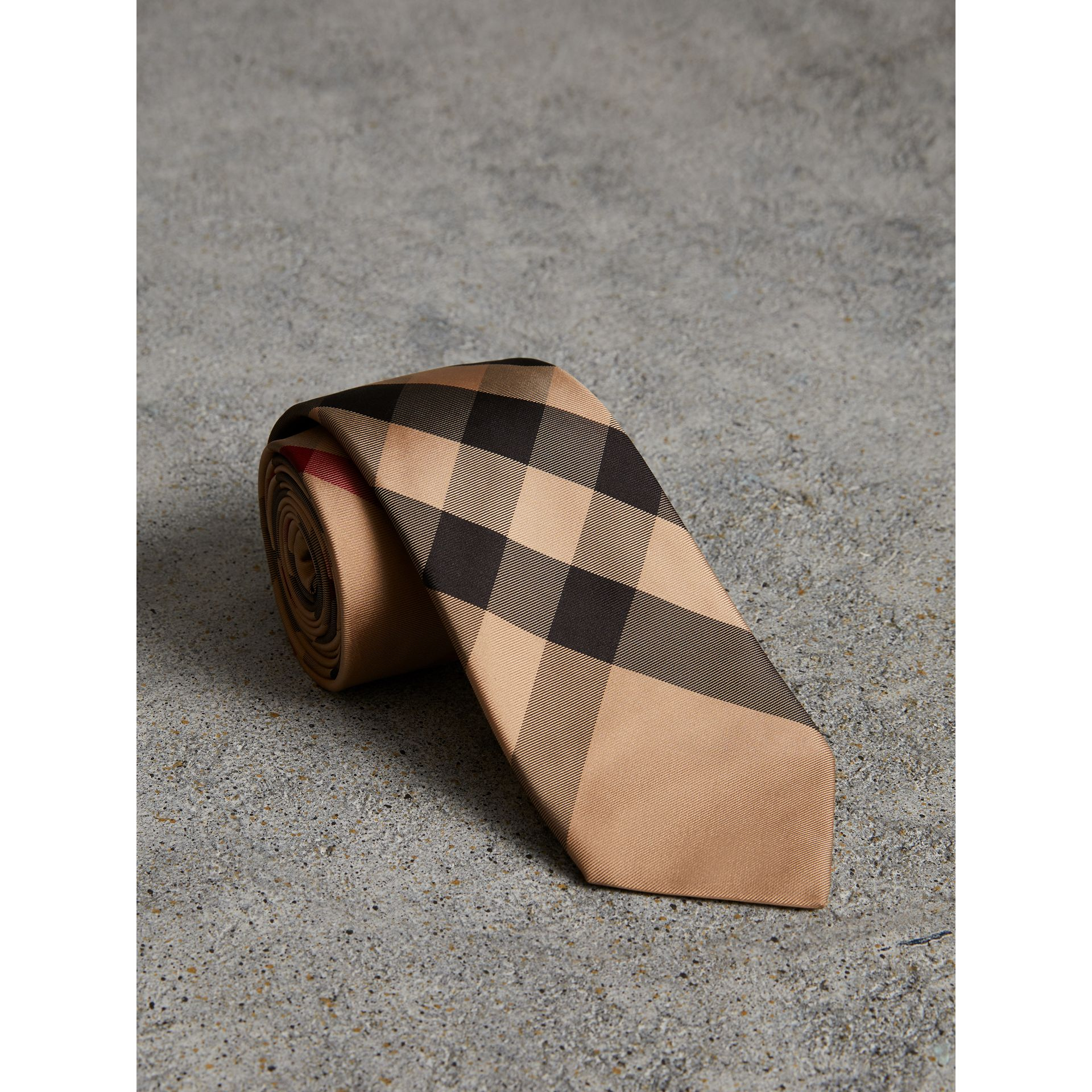 Modern Cut Check Silk Tie in Camel - Men | Burberry - gallery image 1