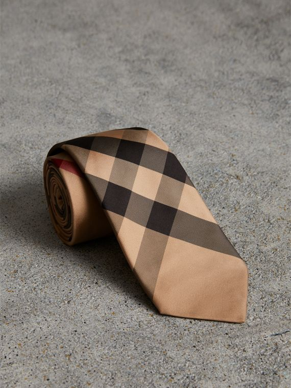 Modern Cut Check Silk Tie in Camel