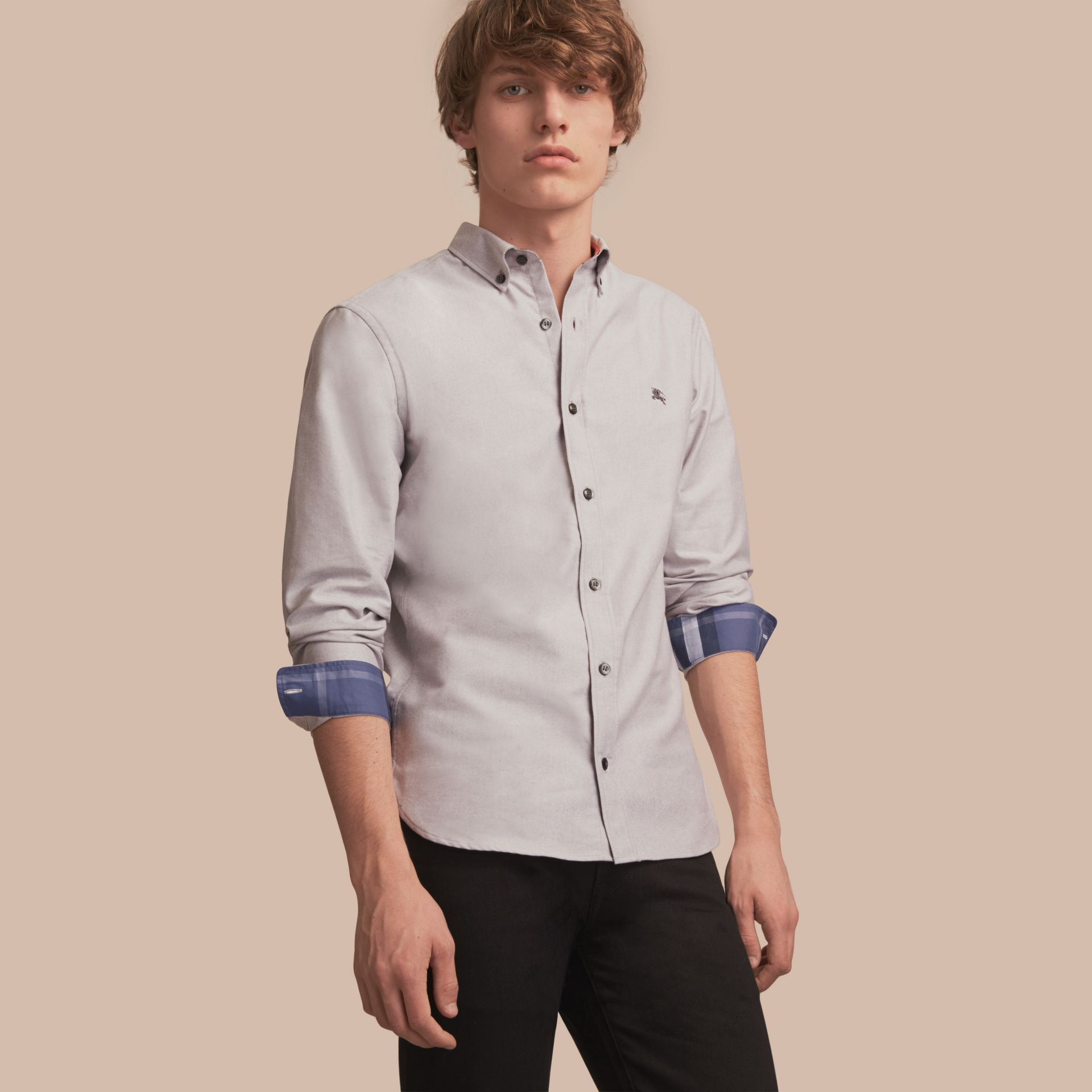 Button-down Collar Cotton Oxford Shirt with Check Detail Charcoal - gallery image 1