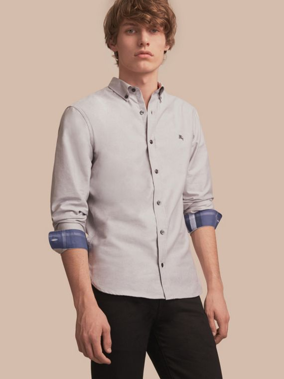 Button-down Collar Cotton Oxford Shirt with Check Detail Charcoal