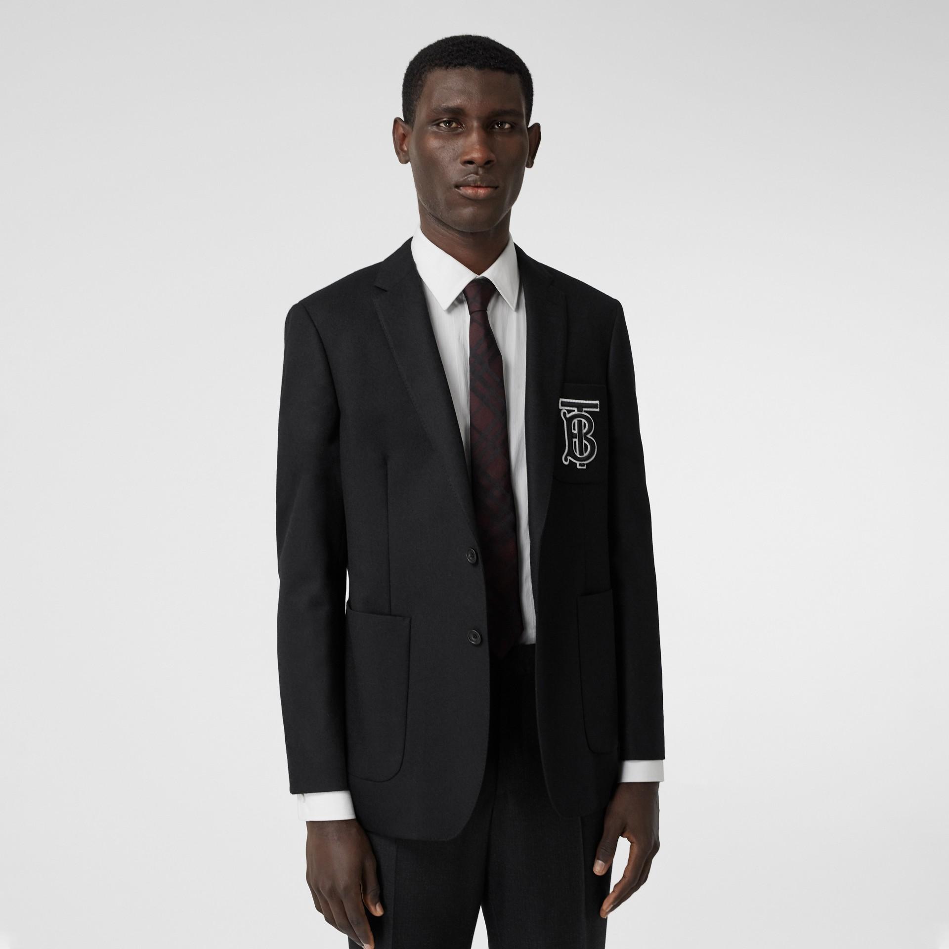 Slim Fit Monogram Motif Wool Flannel Tailored Jacket in Black - Men | Burberry - gallery image 5