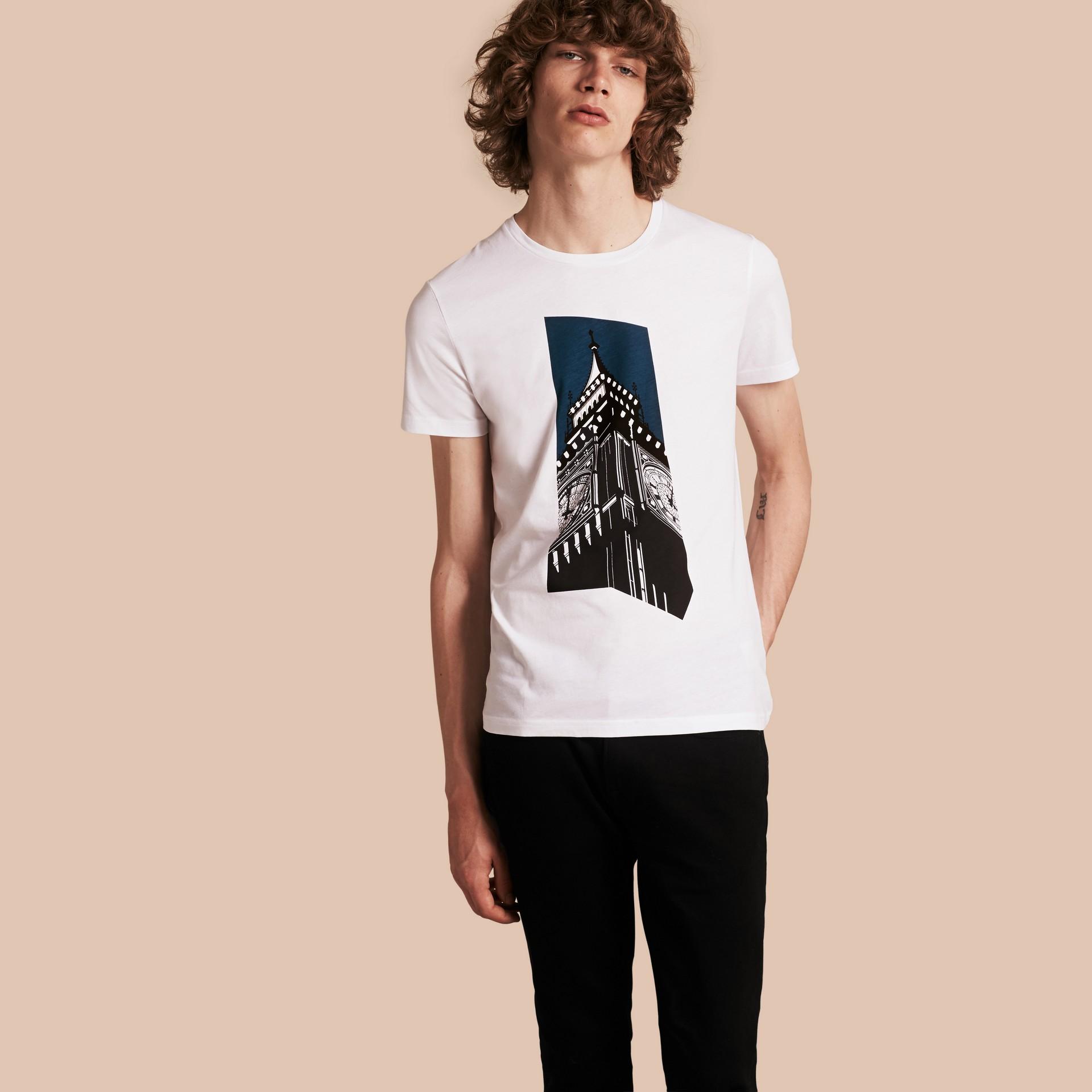 Branco Camiseta de algodão com estampa do Big Ben - galeria de imagens 1