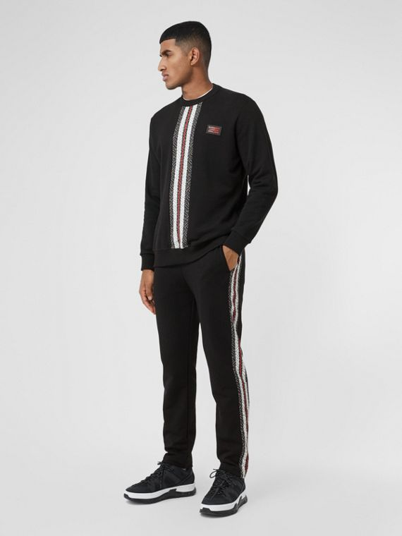 Monogram Stripe Panel Cotton Jogging Pants in Black