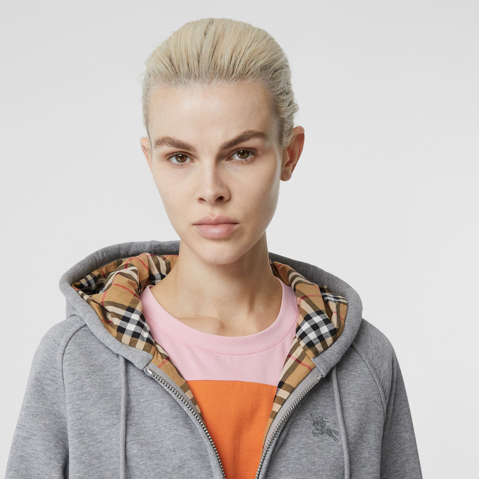 Vintage Check Detail Jersey Hooded Top in Pale Grey Melange - Women | Burberry - gallery image 1
