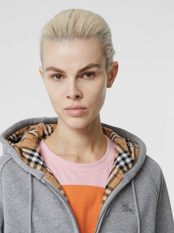 Vintage Check Detail Jersey Hooded Top in Pale Grey Melange - Women | Burberry - cell image 1