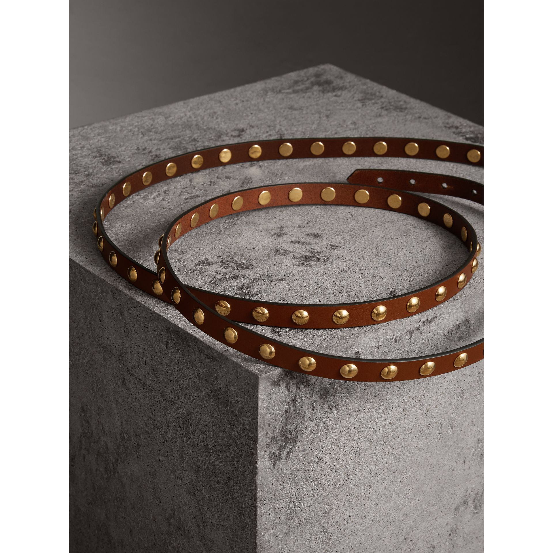 Studded Bridle Leather Double-wrap Belt in Tan - Women | Burberry - gallery image 3
