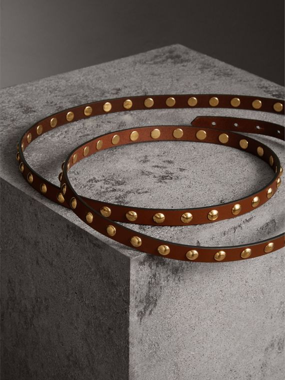 Studded Bridle Leather Double-wrap Belt in Tan - Women | Burberry - cell image 3