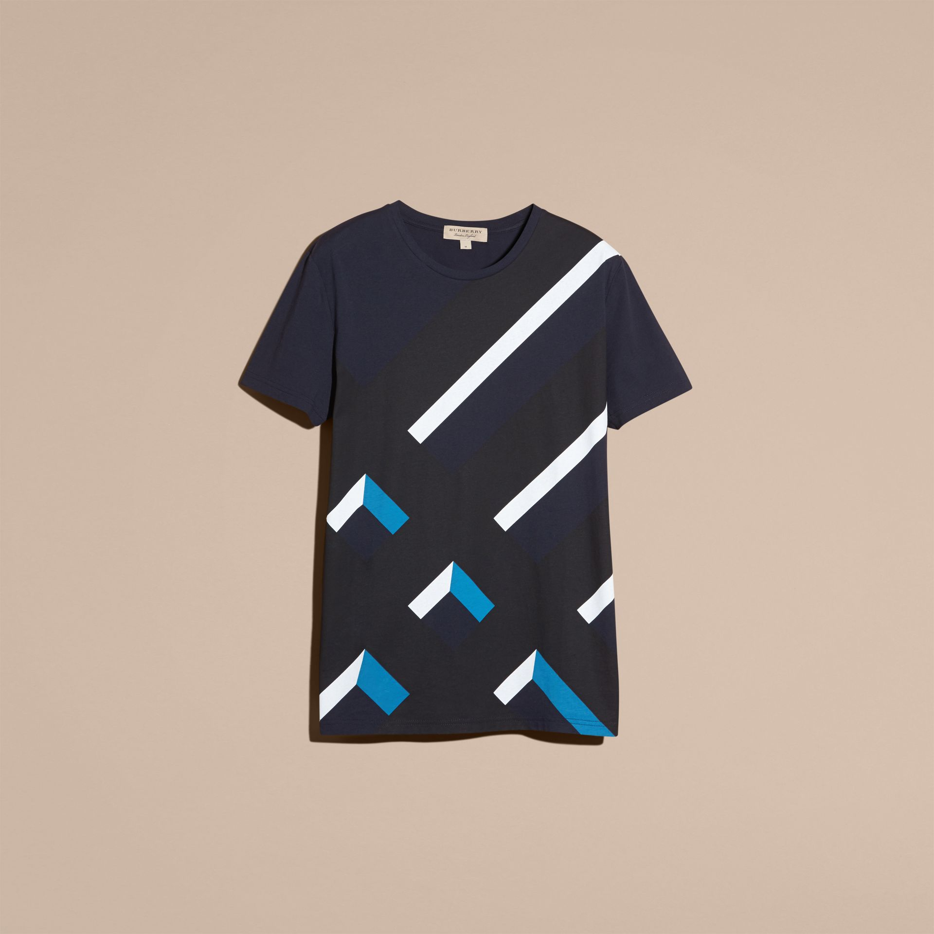 Abstract Check Print Cotton T-shirt Navy - gallery image 4