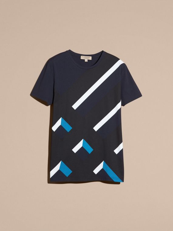 Abstract Check Print Cotton T-shirt Navy - cell image 3