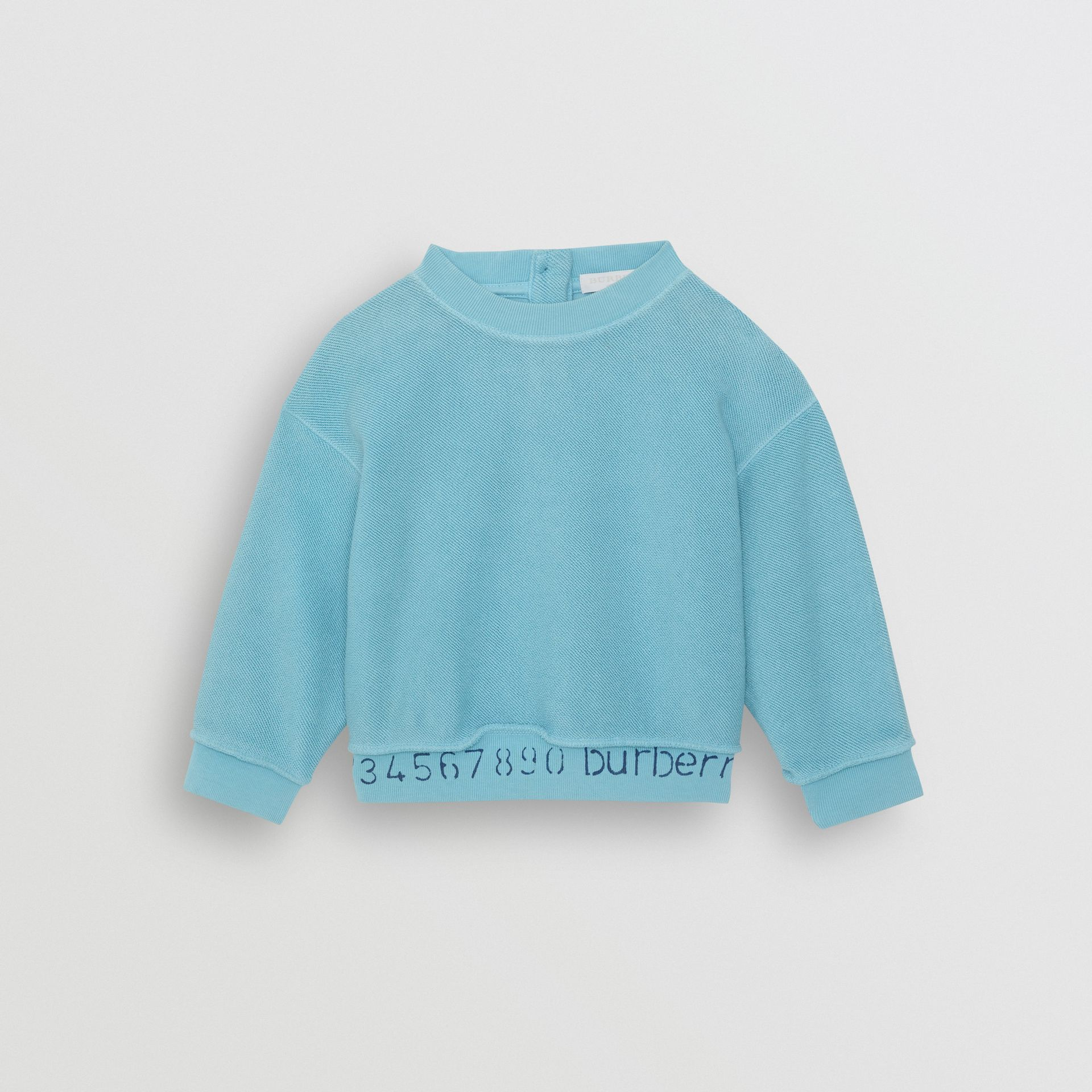 Sweat-shirt en coton avec logo au pochoir (Bleu Cyan Vif) - Enfant | Burberry - photo de la galerie 0