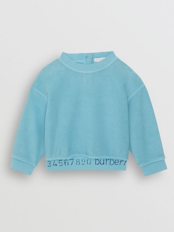 Stencil Logo Print Cotton Sweatshirt in Bright Cyan Blue