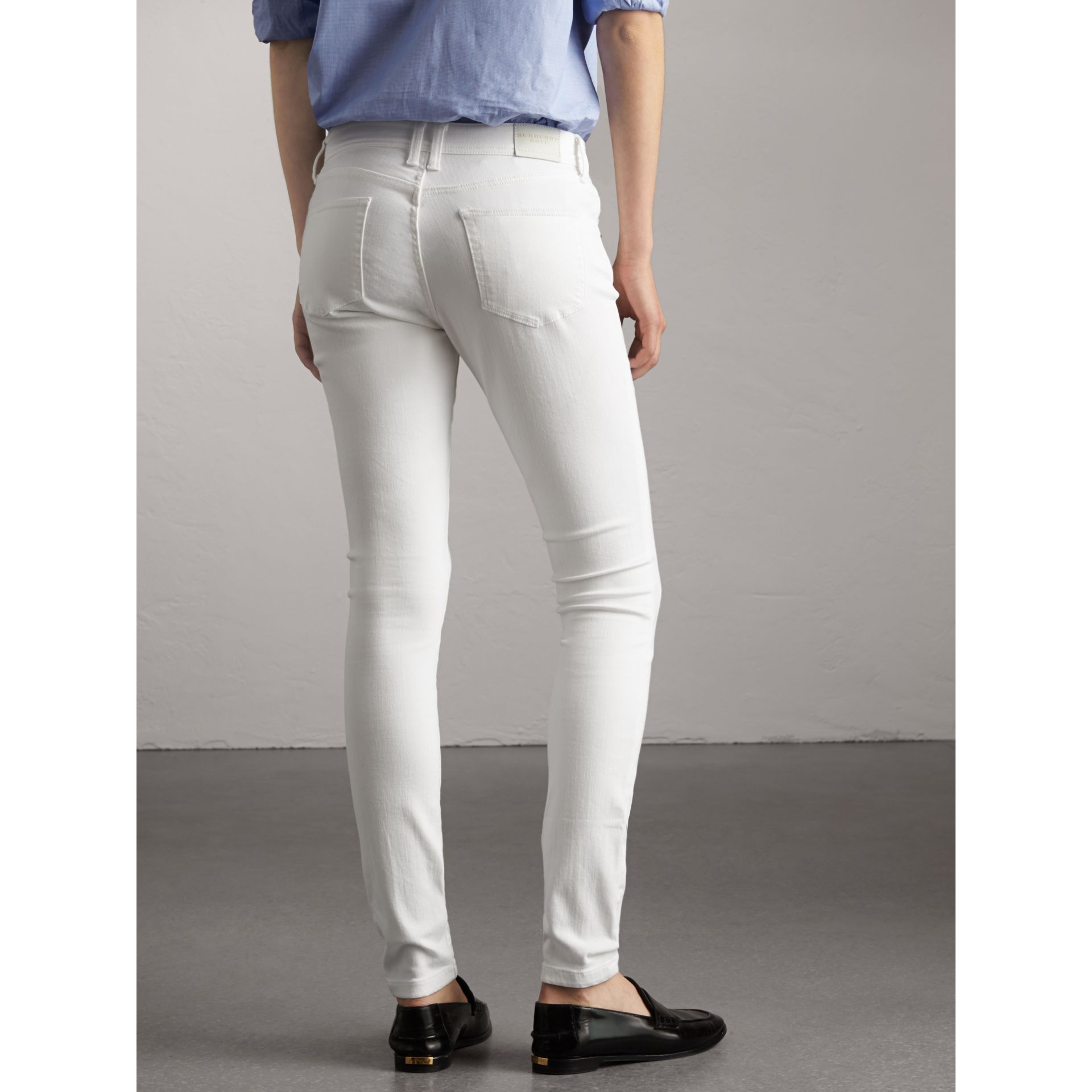 Skinny Fit Low-Rise White Jeans - Women | Burberry United Kingdom - gallery image 2