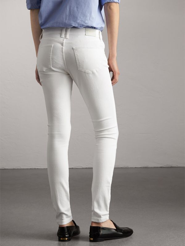 Skinny Fit Low-Rise White Jeans - Women | Burberry United Kingdom - cell image 2