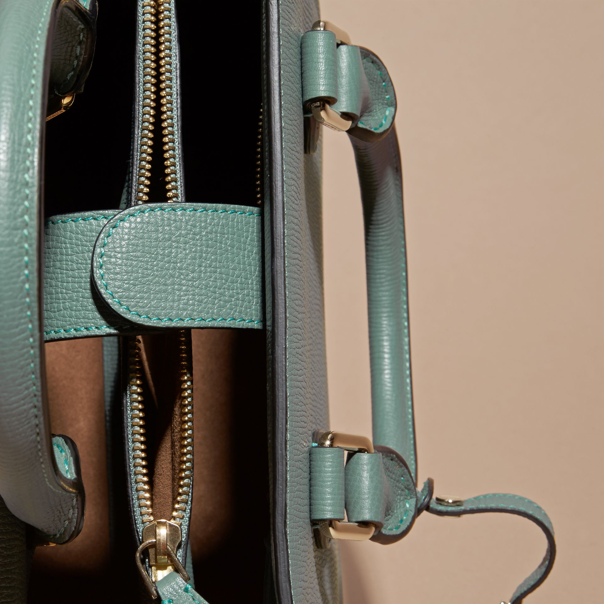 Smokey green The Small Saddle Bag in Grainy Bonded Leather Smokey Green - gallery image 5