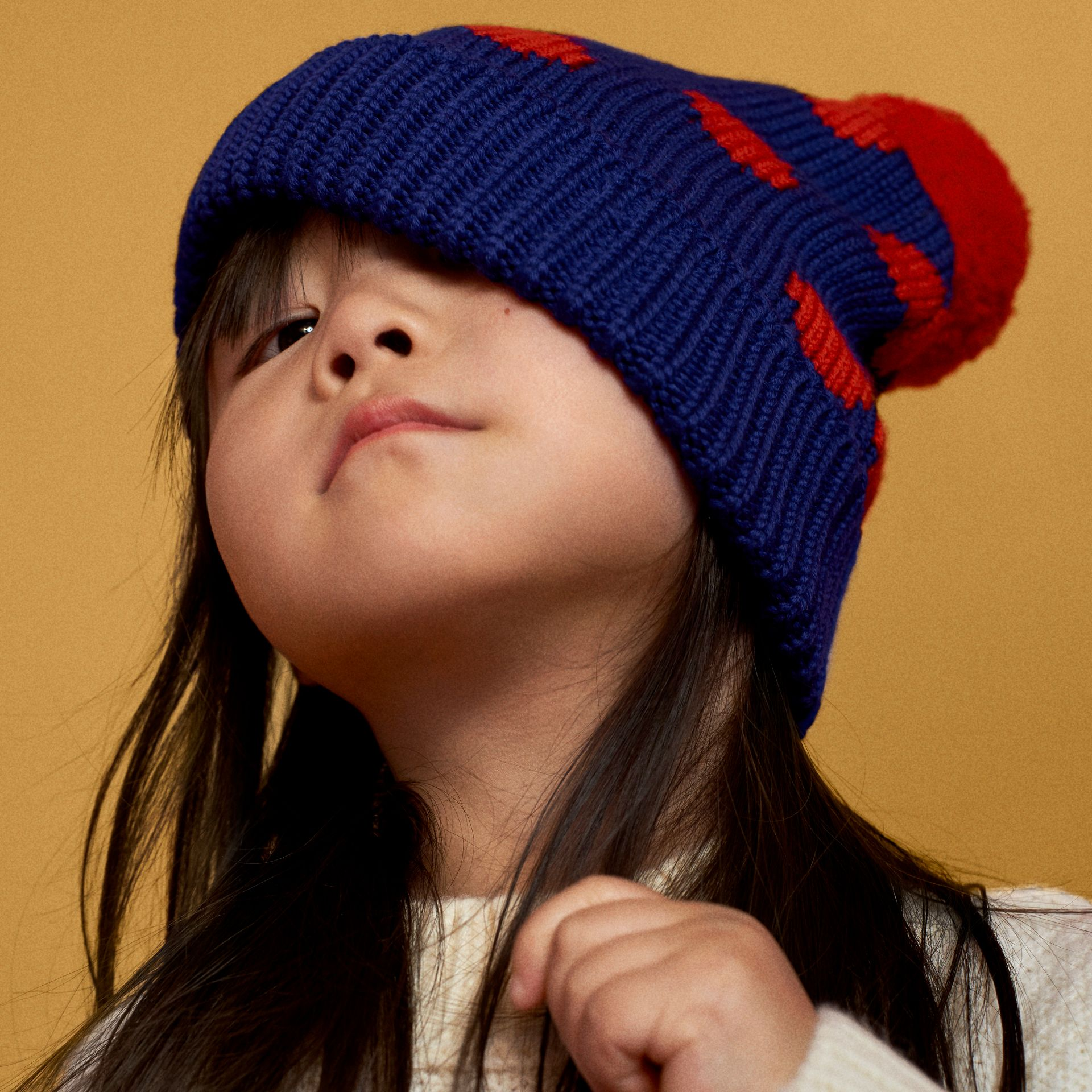 Polka Dot Wool Turnback Beanie in Dark Blue | Burberry - gallery image 1