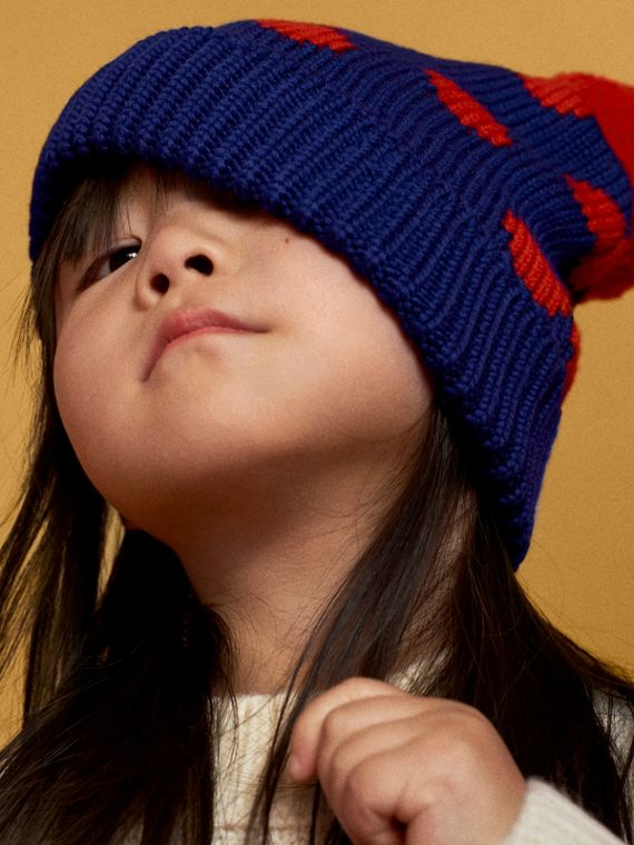 Polka Dot Wool Turnback Beanie in Dark Blue