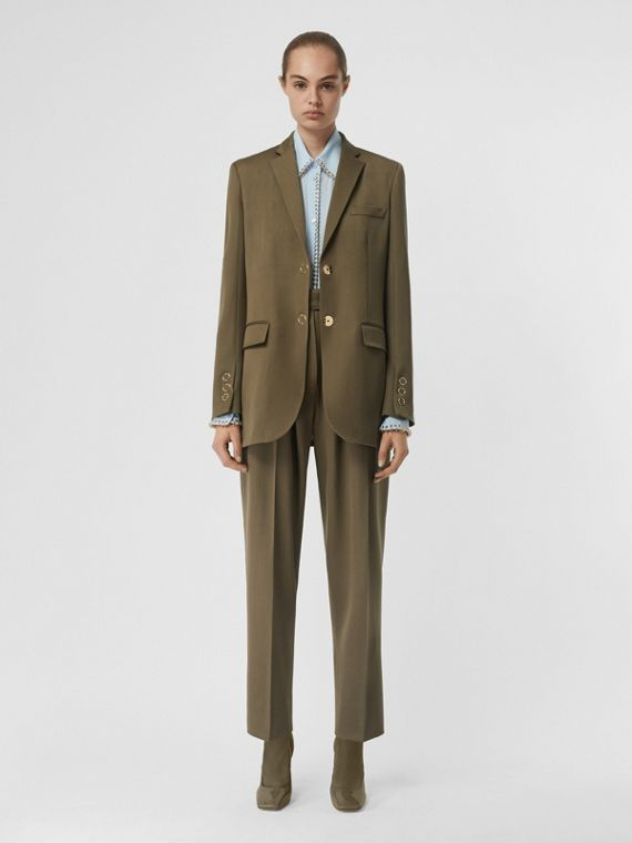 Press-stud Wool Twill Tailored Jacket in Warm Taupe
