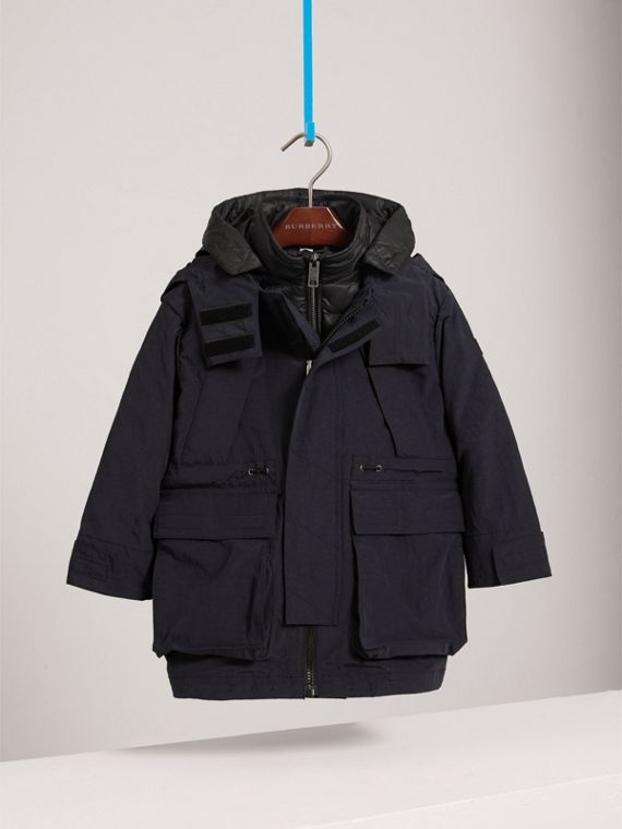Parka with Detachable Down-filled Hooded Warmer in Navy