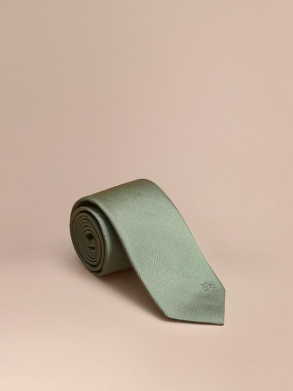 Cravatta dal taglio moderno in twill di seta Verde Eucalipto