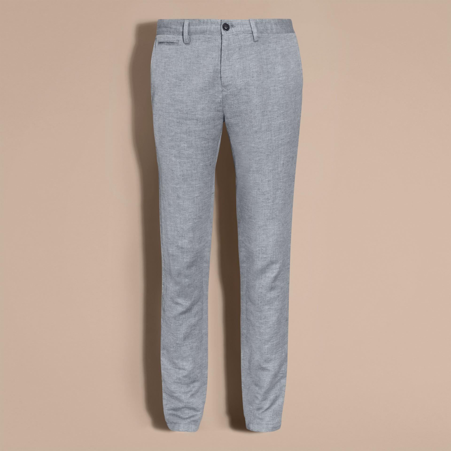 Azul pálido Pantalones chinos en algodón y lino Azul Pálido - imagen de la galería 4