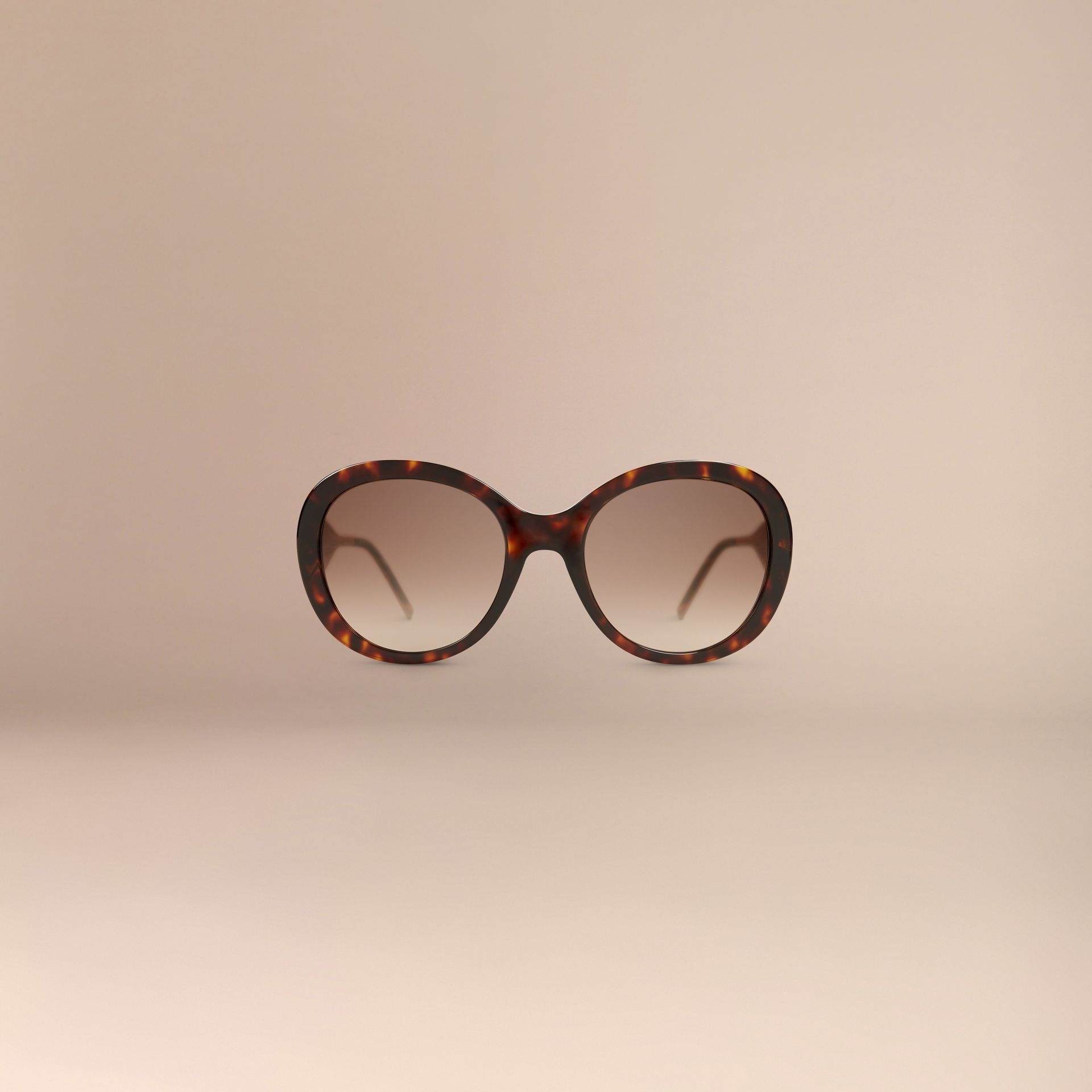 Oversize Round Frame Sunglasses in Ebony - Women | Burberry - gallery image 3