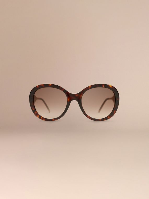 Oversize Round Frame Sunglasses in Ebony - Women | Burberry - cell image 2