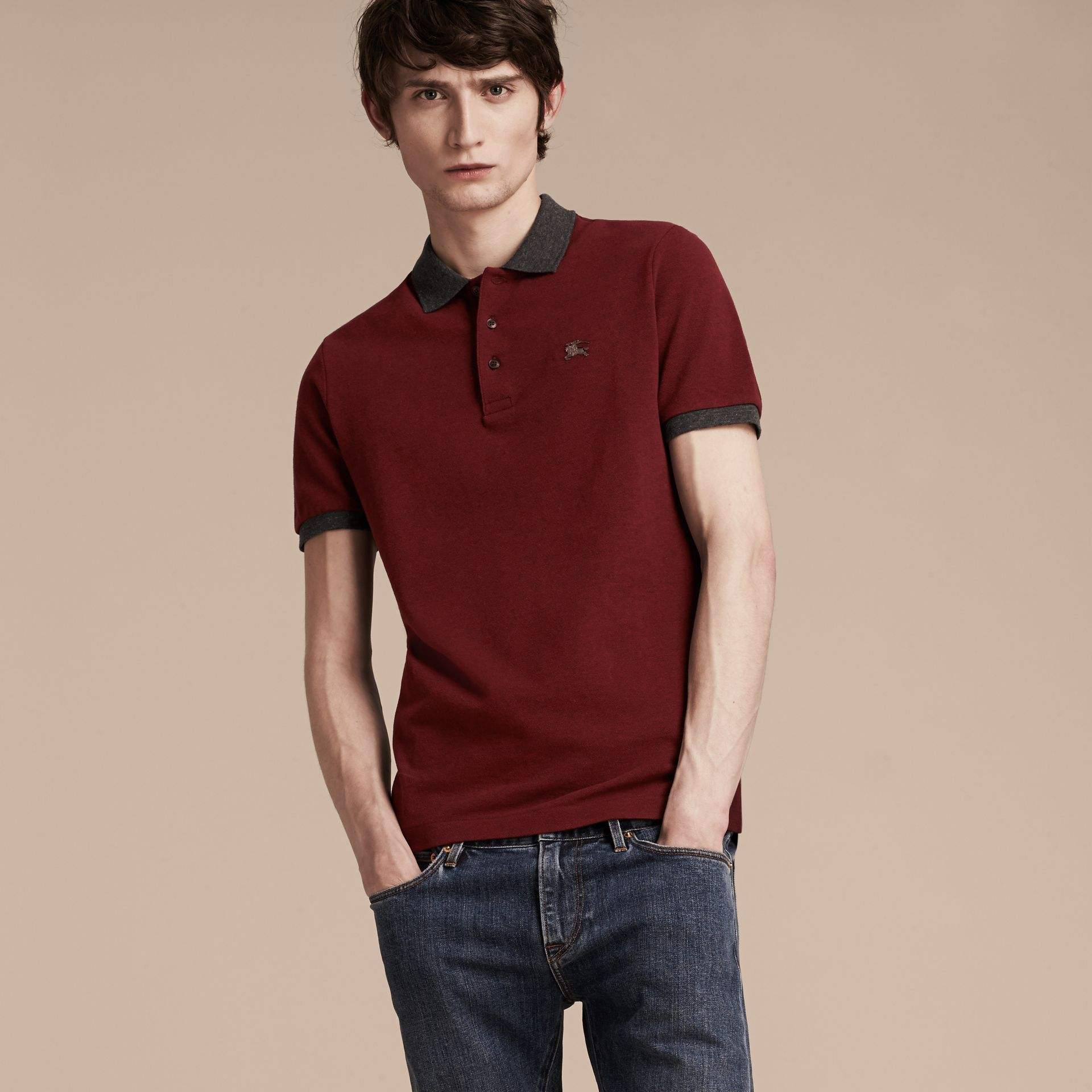 Parade red melange Contrast Colour Detail Cotton Piqué Polo Shirt Parade Red Melange - gallery image 5
