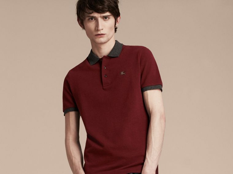 Parade red melange Contrast Colour Detail Cotton Piqué Polo Shirt Parade Red Melange - cell image 4