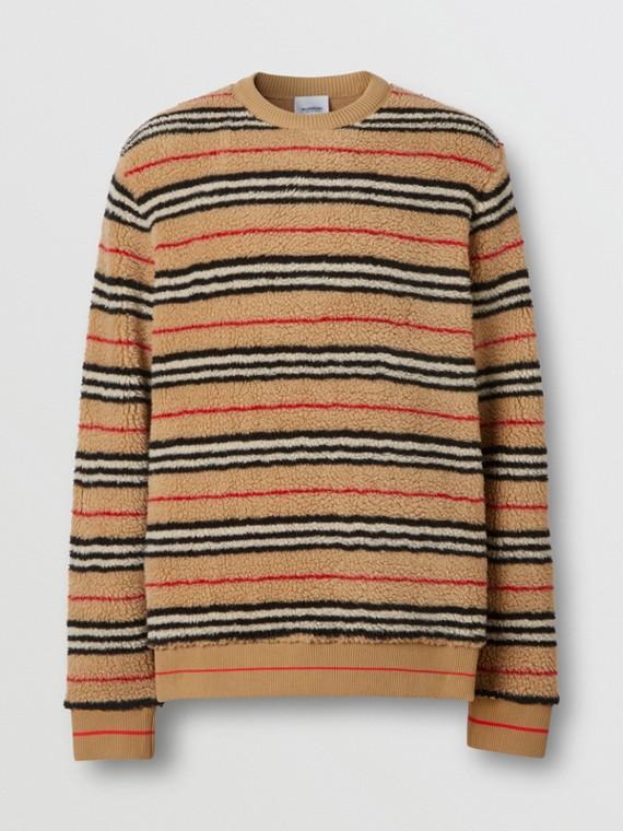 Icon Stripe Fleece Sweatshirt in Archive Beige