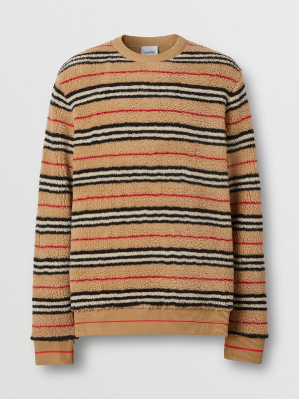 Icon Stripe Fleece Sweatshirt in Archive Beige - Men | Burberry United States - cell image 3
