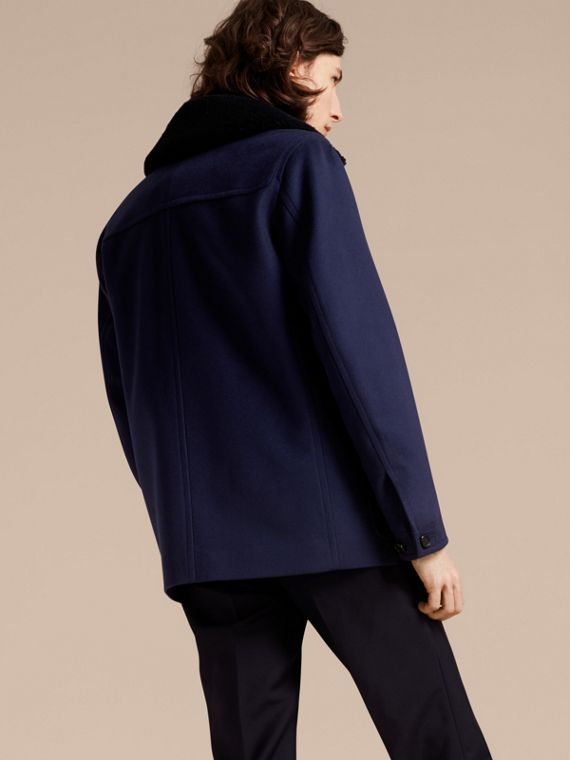 Blueberry Cashmere Donkey Jacket with Detachable Shearling Collar - cell image 2