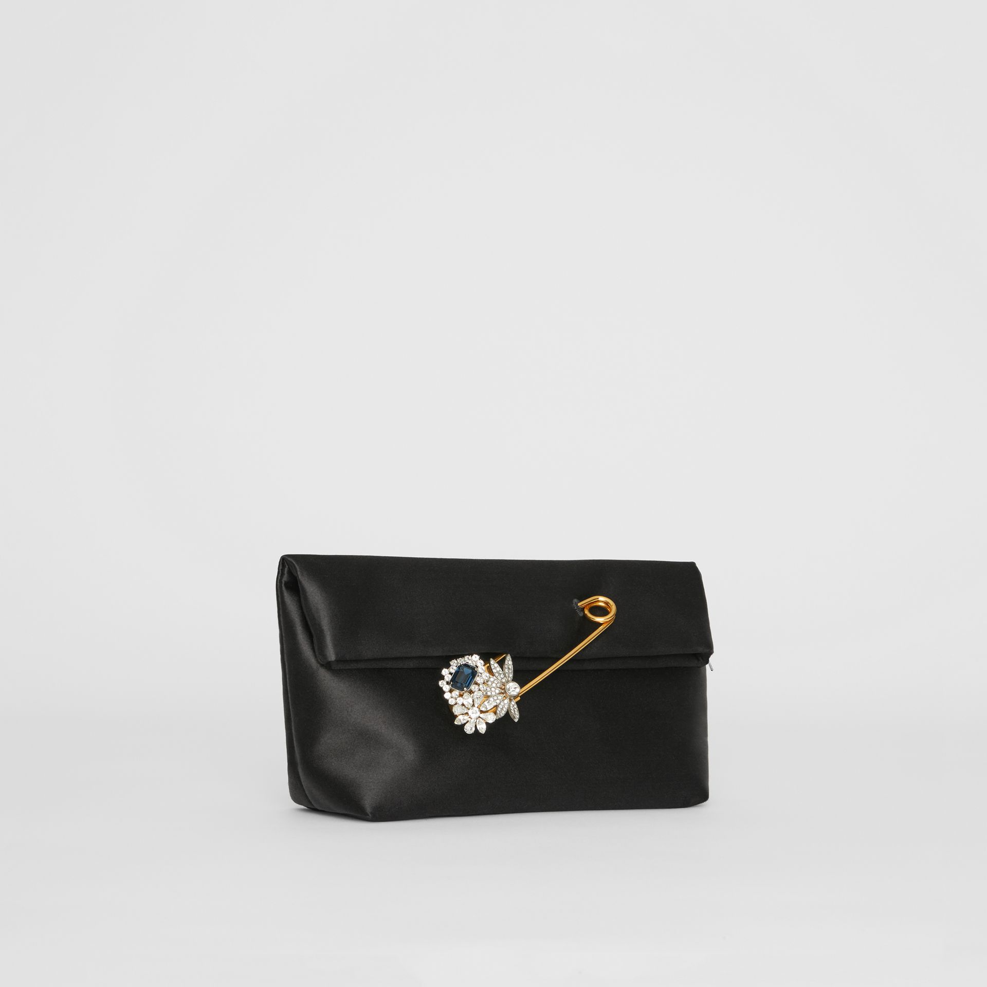 The Small Pin Clutch in Satin in Black - Women | Burberry - gallery image 5