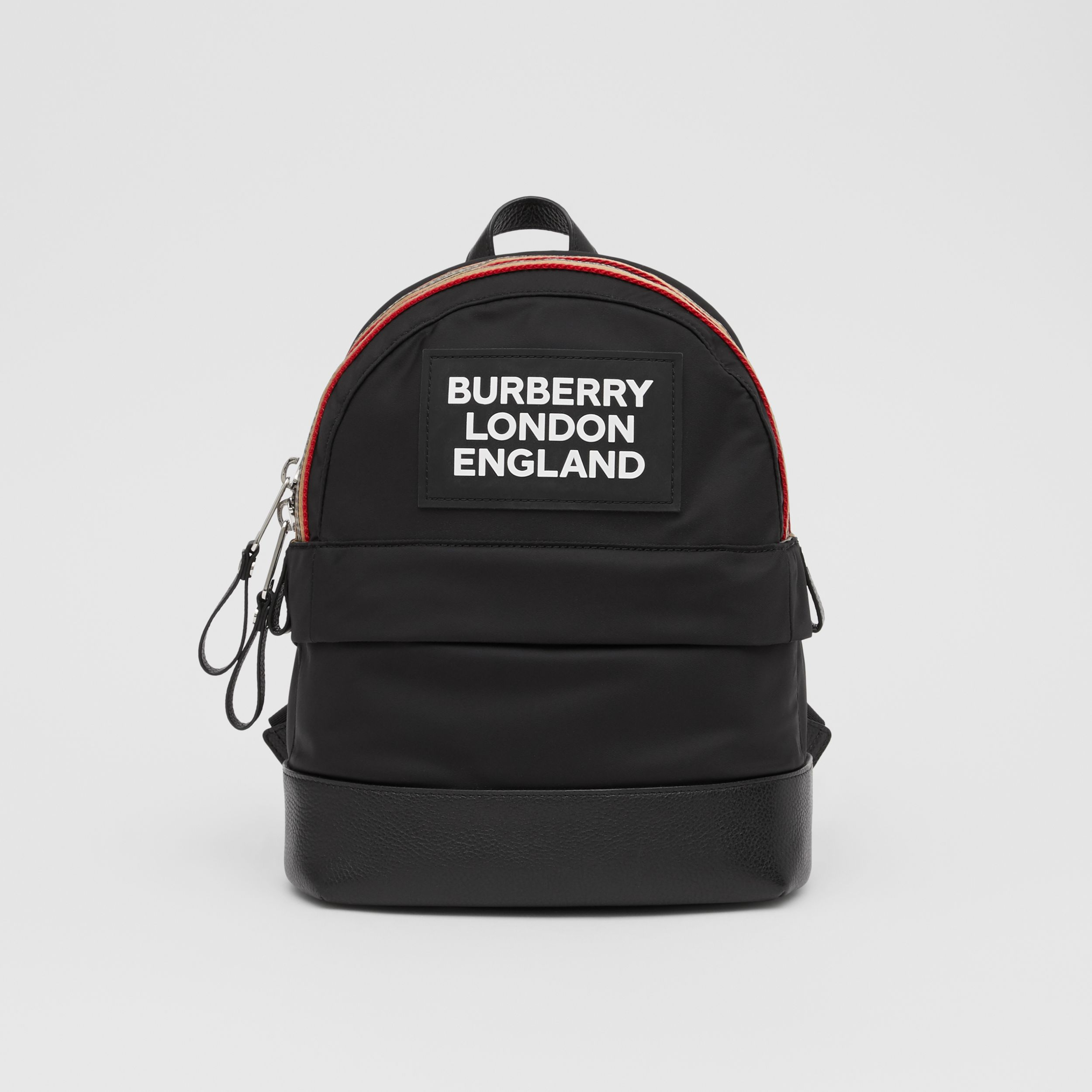 Logo Appliqué Icon Stripe Trim ECONYL® Backpack in Black - Children | Burberry - 1