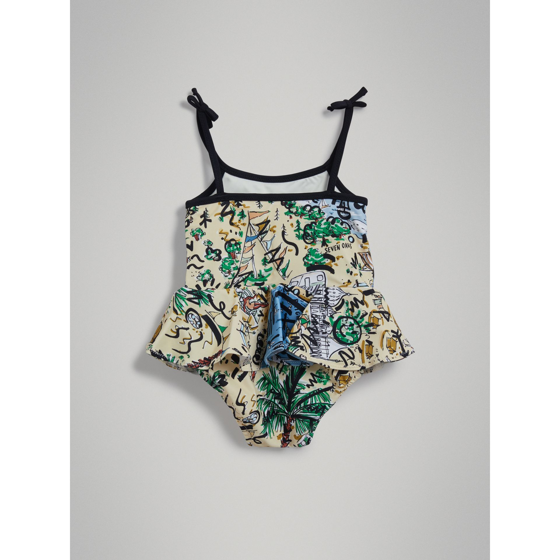 Ruffle Detail Seaside Print One-piece Swimsuit in Honey | Burberry - gallery image 3