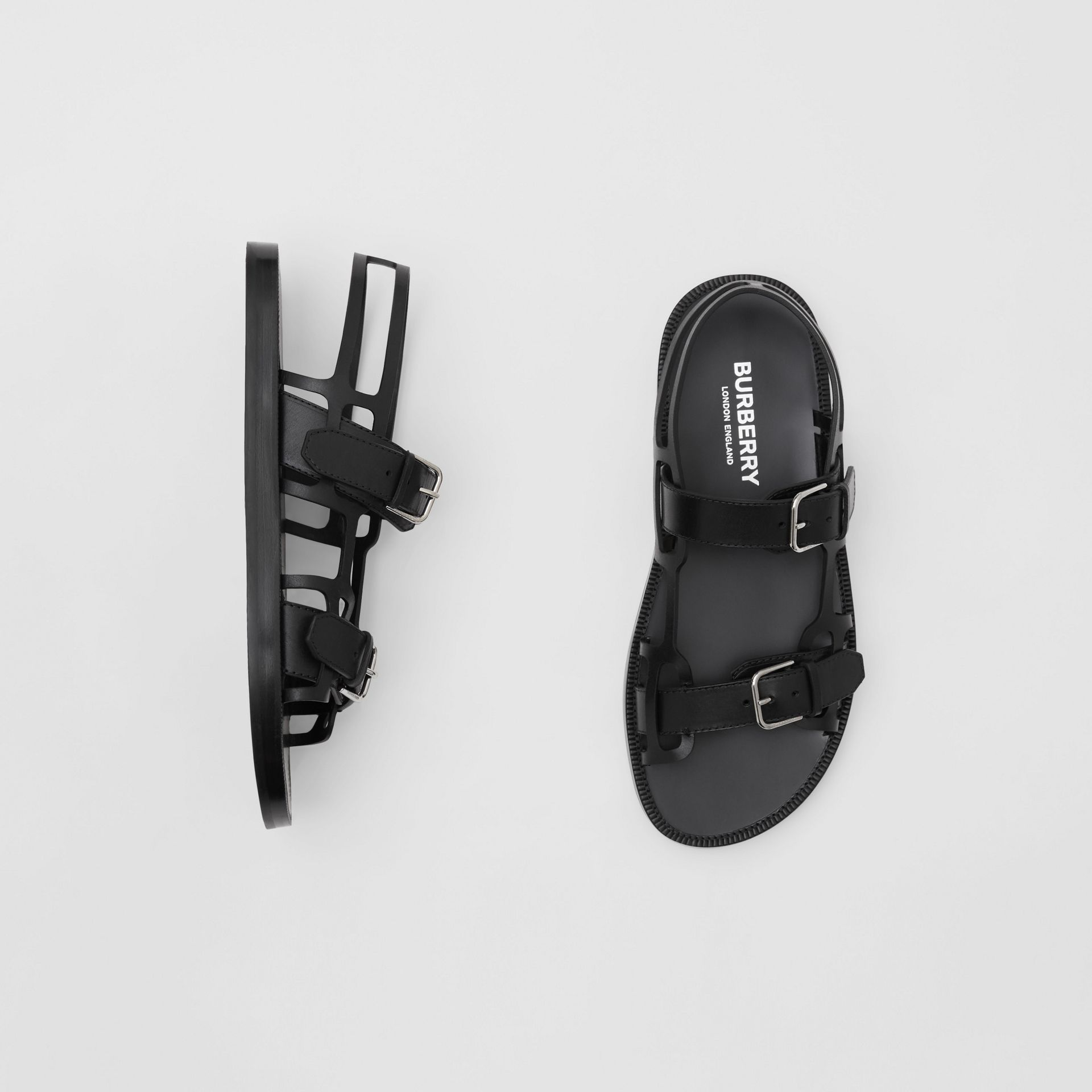 Leather Webb Sandals in Black | Burberry Australia - gallery image 0