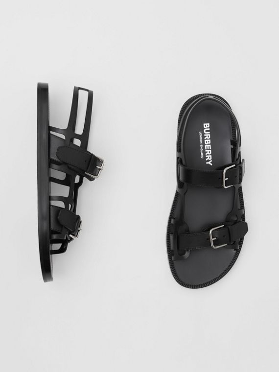 Leather Webb Sandals in Black