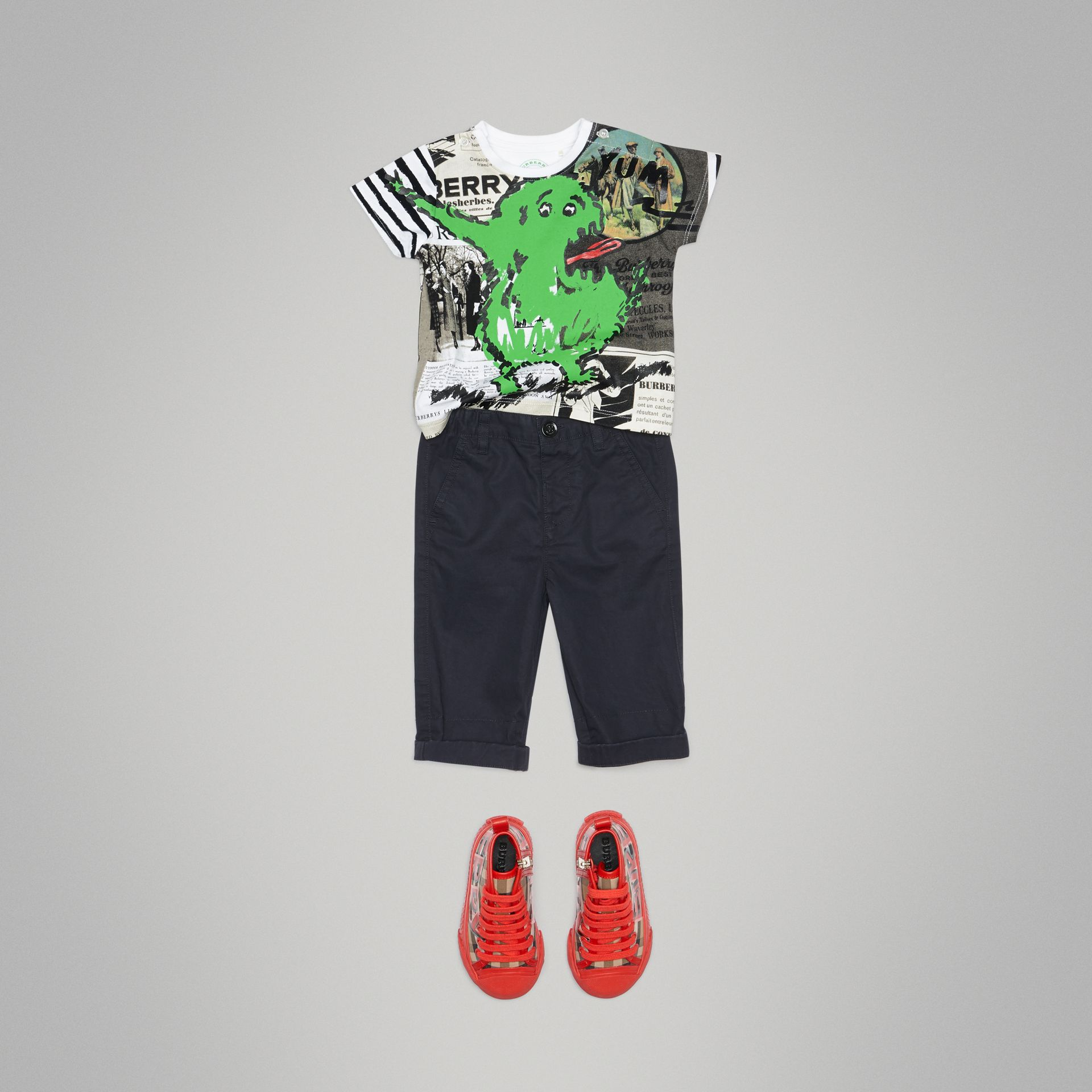 Monster Print Cotton T-shirt in White - Children | Burberry - gallery image 2