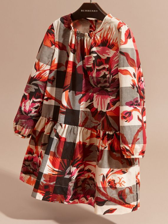 Pink azalea Peony Rose Print Check Cotton Dress - cell image 2