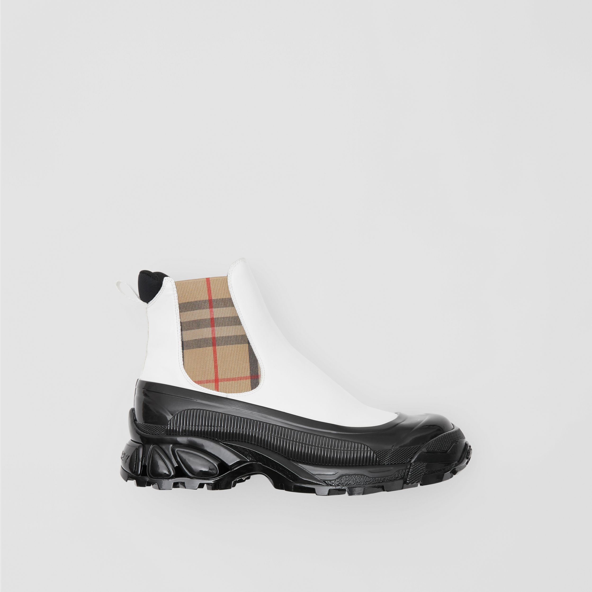 Vintage Check Detail Coated Canvas Chelsea Boots in White / Archive Beige - Women | Burberry - 1