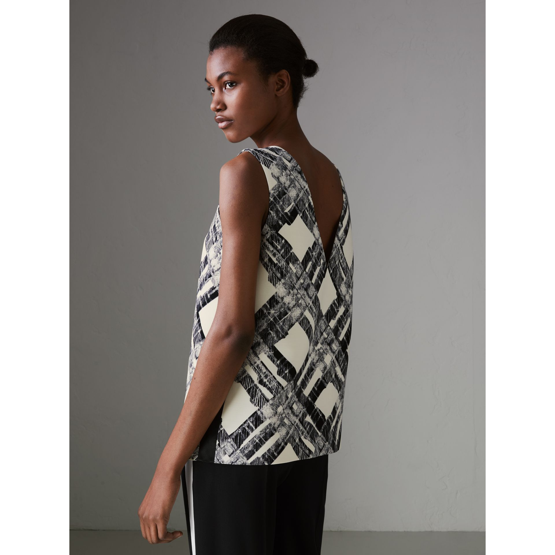 Sleeveless Check Print Wool Silk Top in Stone - Women | Burberry - gallery image 2