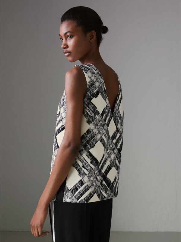 Sleeveless Check Print Wool Silk Top in Stone - Women | Burberry - cell image 2