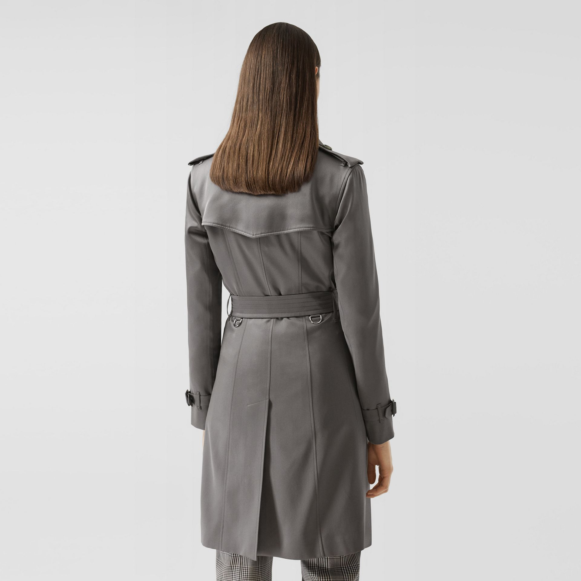 Silk Trench Coat in English Grey - Women | Burberry Singapore - gallery image 2