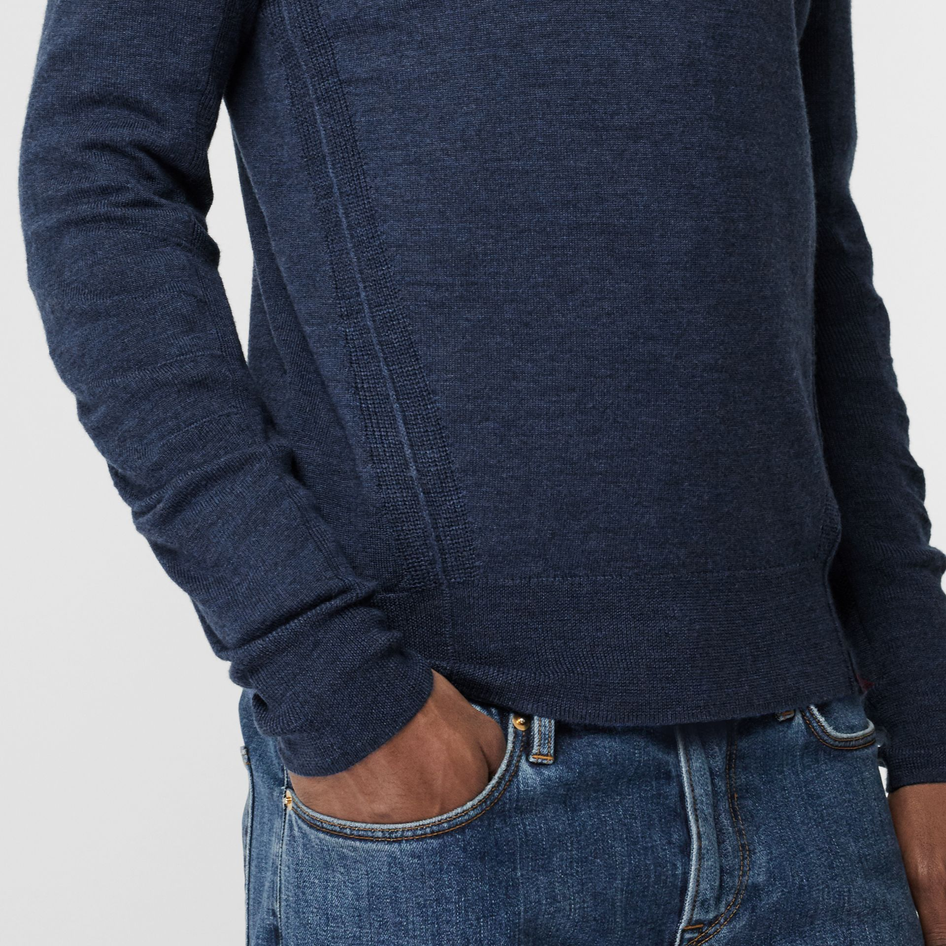 Merino Wool Half-zip Sweater in Storm Blue - Men | Burberry - gallery image 1
