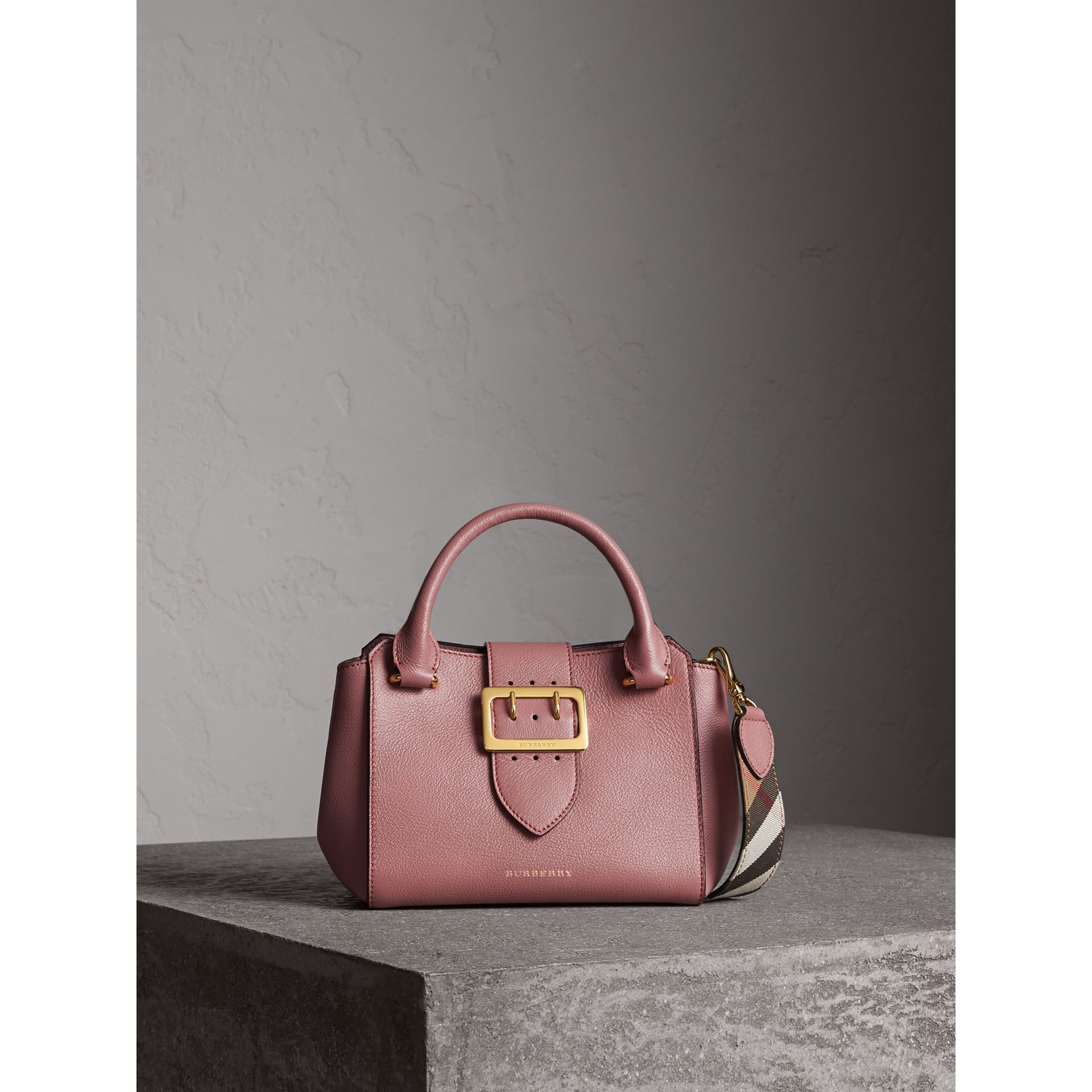 The Small Buckle Tote in Grainy Leather in Dusty Pink - Women | Burberry - gallery image 1