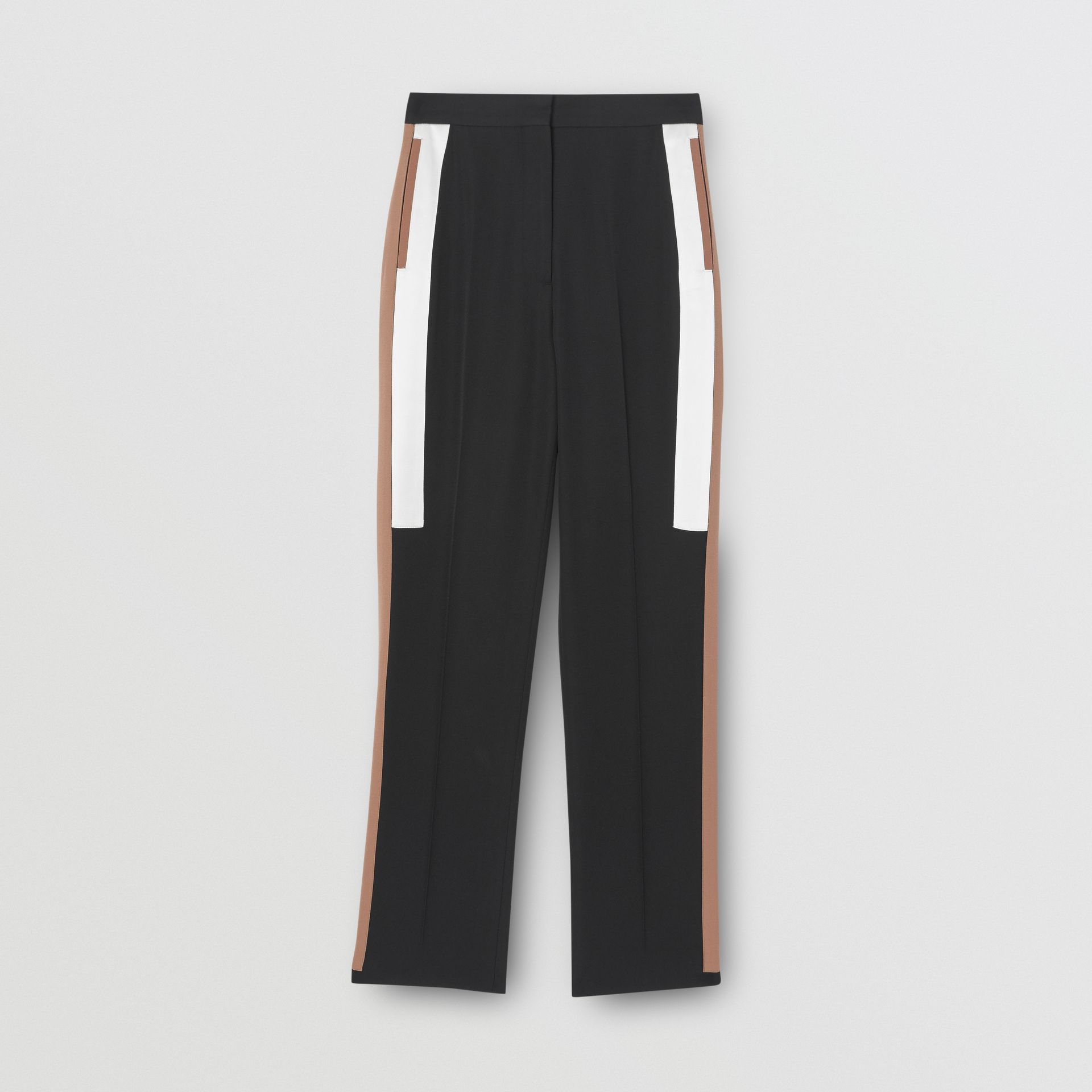 Stripe Detail Wool Tailored Trousers in Black - Women | Burberry - gallery image 3