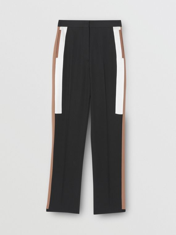 Stripe Detail Wool Tailored Trousers in Black
